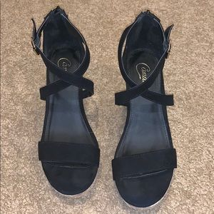 Candie's Black Wedge Heels